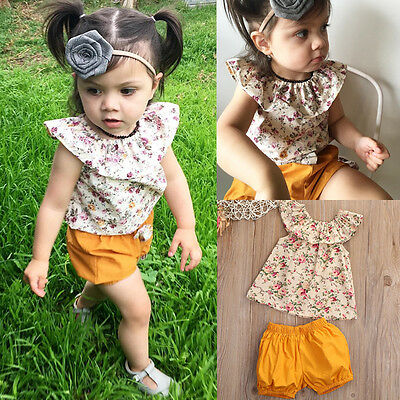 US 2PCS Toddler Baby Girls Summer T-shirt Tops+Pants Shorts Outfits Clothes 0-3T