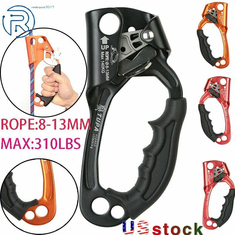 L/R Hand Ascender Rock Climbing Tree Arborist Rappelling for 8~13mm Gear Rope