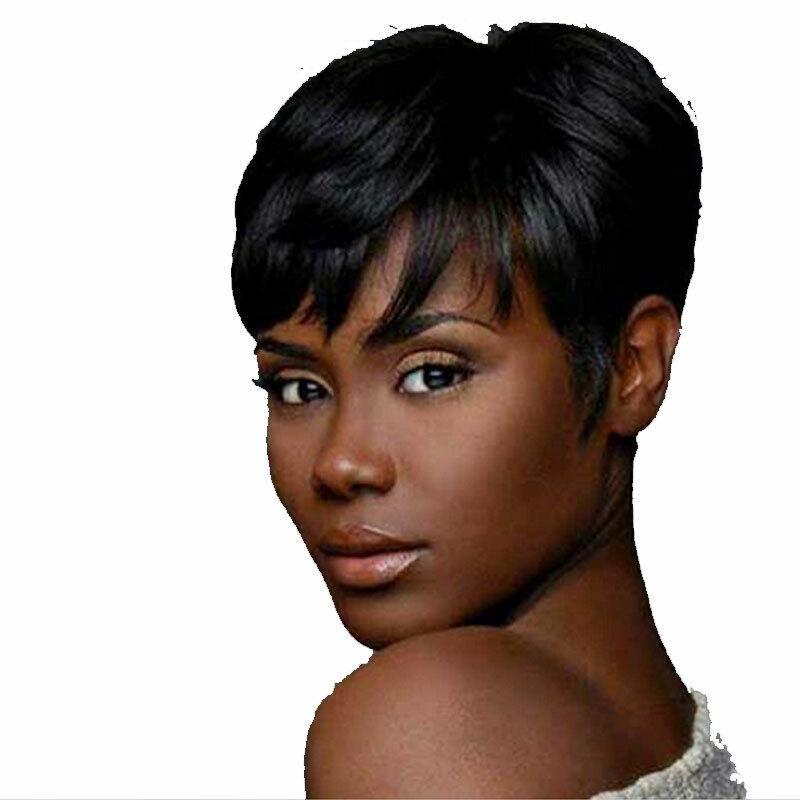 Atoz Black Short Bob Brazilian Human Hair No Lace Full Wigs Pixie Cut Short Wigs Ebay