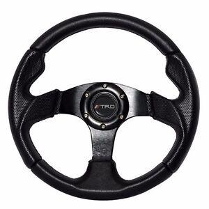 For 87-95 Toyota Pickup 320mm Steering Wheel Black PVC TRD Horn + Hub Adapter