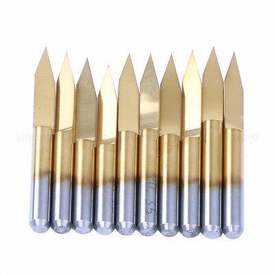 10pcs V-shape Titanium Coated Pcb Engraving Cnc Bit Router Tool 3.175300.1