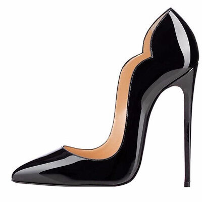 Women Black High Heel Pointed Toe Classic Stiletto Pumps Waved Upper Silp (Womens High Stiletto Heel)