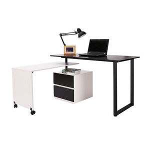 Computer Table PC Wooden Executive Office Working Desk Rotating