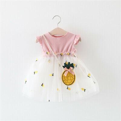 NEW Toddler Baby Girl Sundress Pineapple Tulle Dress Princess Pageant Skirt (Tulle Dress Girl)
