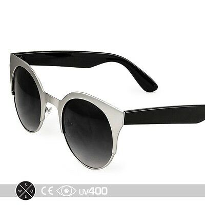 Silver Round Metal Frame Cat Eye Classic Classy Sunglasses Glasses S233
