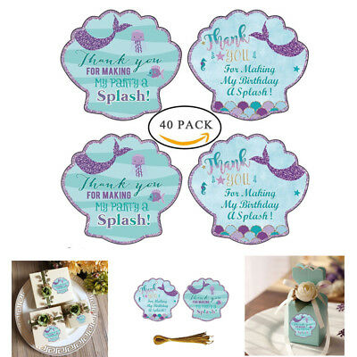 40pcs Mermaid Sticker Thank you Sea Shell Label Party Favors For Party