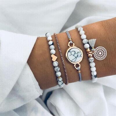 HOT 4Pcs Trendy Marble Beads Tassel Handmade Bohemian Charm Bracelet Set Jewelry