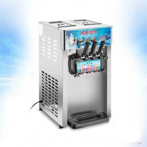 Commercial 3 Flavor Soft Ice Cream Frozen Cones Yogurt 110V Machine210022