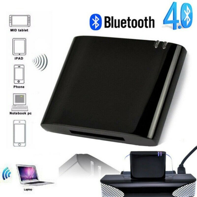 Music Audio Receiver Adapter For iPhone iPod 30 Pin Dock Speaker Bluetooth V4.1