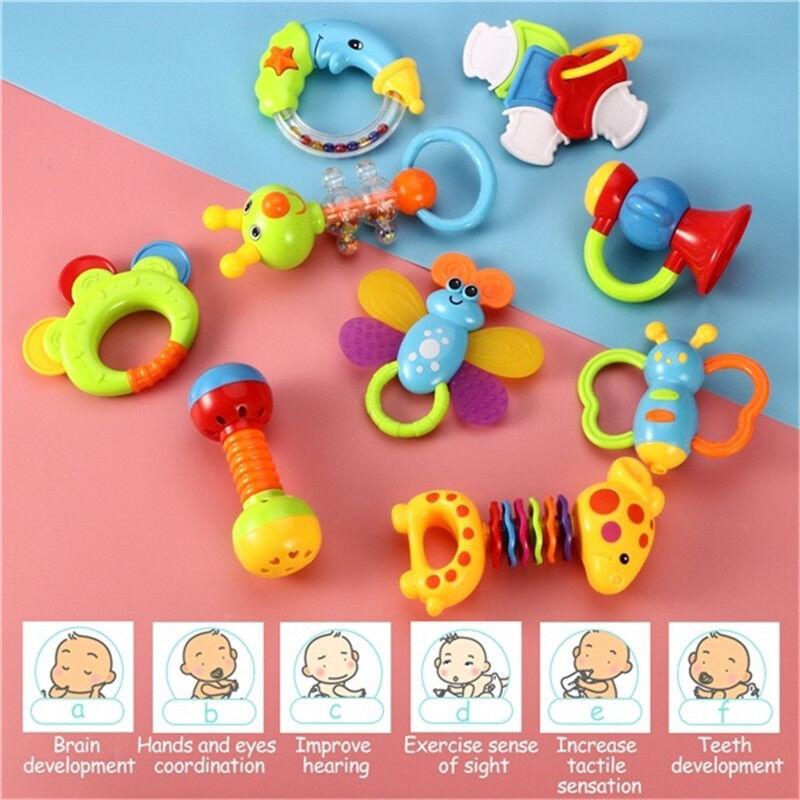 9er/set Baby Spielzeug Rasseln Griff Greiflinge Rassel Babyrassel Babybett