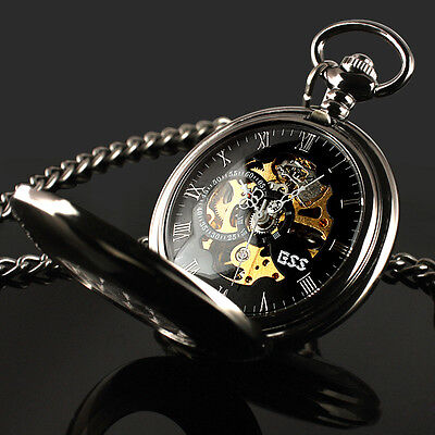 Black Antique Mechanical Skeleton Steampunk Mens Pocket Watch Gift Chain ESS