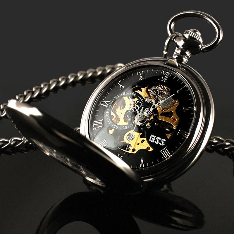 Black Antique Mechanical Skeleton Steampunk Mens Pocket Watch Gift Chain ESS