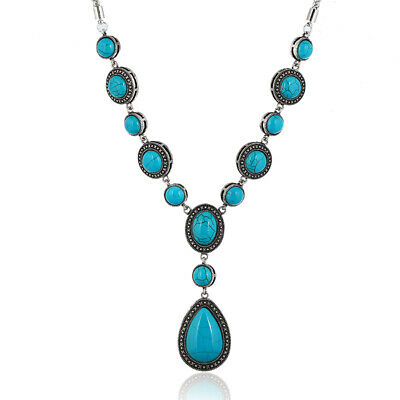 Fashion Geometric Pendant Turquoise Long Ladies Necklace Sweater Chain Jewelry