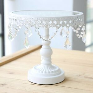 8 Inches  Gorgeous White Iron /Glass  And Crystal Cake Stand For Wedding Parties