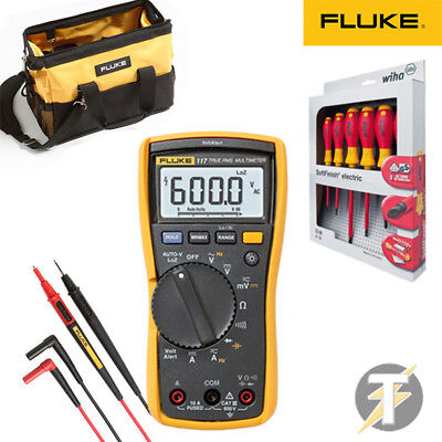 Fluke 117 Digital Multimeter Kit2r Tl175 Leads C550 Tool Case Free Wiha 25477