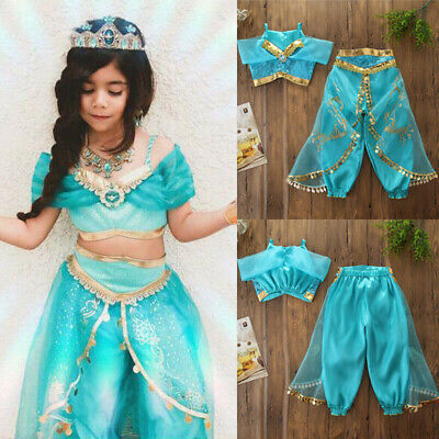 Kids Aladdin Costume (Kids Girls Aladdin Costume Princess Cosplay Outfit Sequin Party Fancy)