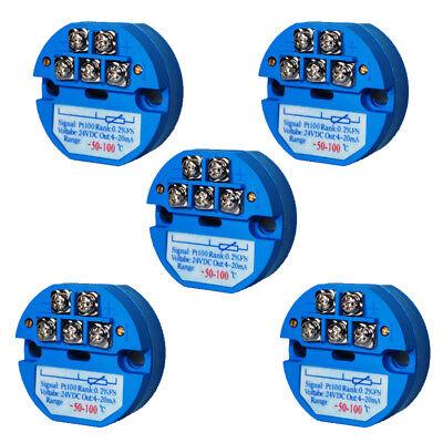 5x Pt100 Temperature Transmitter Sensor Rtd Sbw -50-100 4-20ma Isolated Module