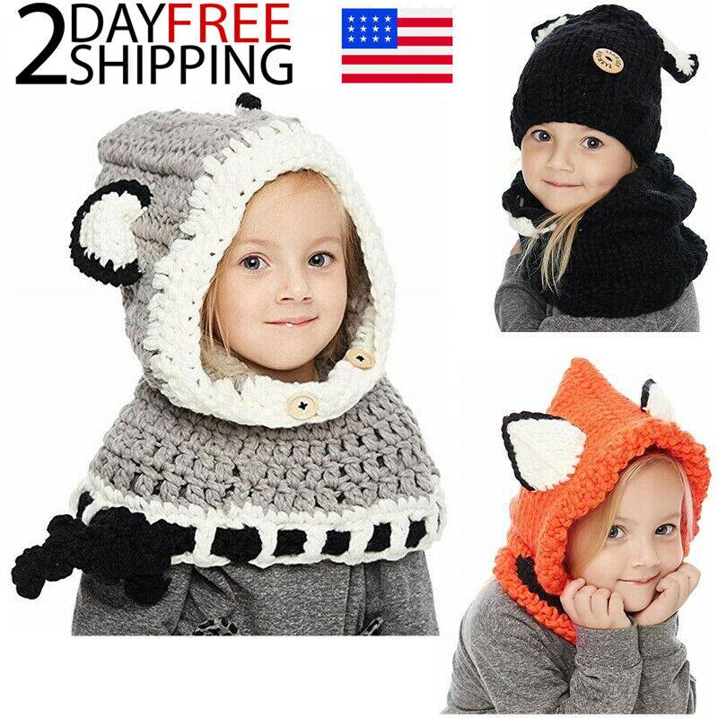 Kids Boys Girls Winter Fox Beanie Warm Hat Hooded Scarf Earflap Knitted Cap