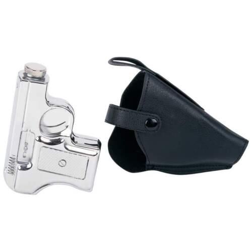 PISTOL FLASK & Black HOLSTER Stainless Steel Screw Cap Hip Pocket Liquor Alcohol