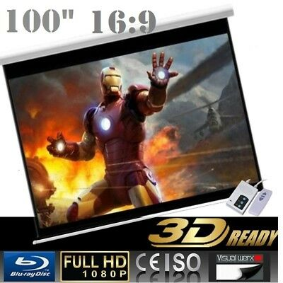 "Pro 100"" 16:9 Electric Auto Projector Motorized Projector screen"