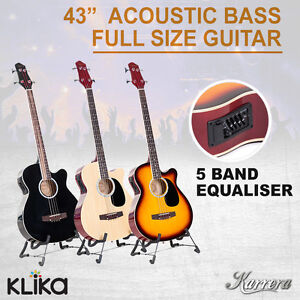 4 STRING KARRERA ACOUSTIC BASS GUITAR ELECTRIC PICKUP WITH SOULDER STRAP PICKS