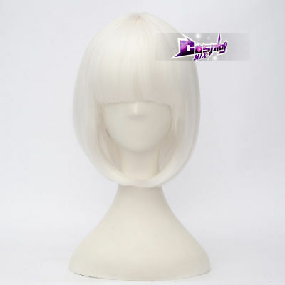 Women's Fashion White 35 CM Short Bob with Bang Heat Resistant Cosplay Wig - White Short Wig