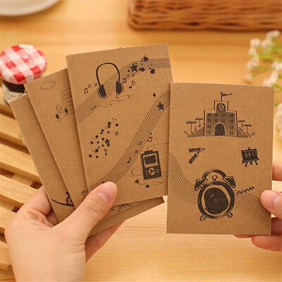 Cute Mini Notebook Kraft Cover Daily Memo Note Pads Horizontal Stripe Inner Page
