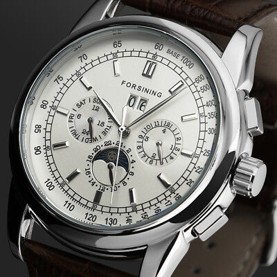 6 Hands Mechanical Automatic Classic Men's Watch Brown Leather Band Moonphase