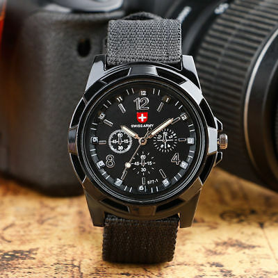 Military Analog Mens Watch Wristwatch Sport Swiss Army Quartz Canvas Strap Black