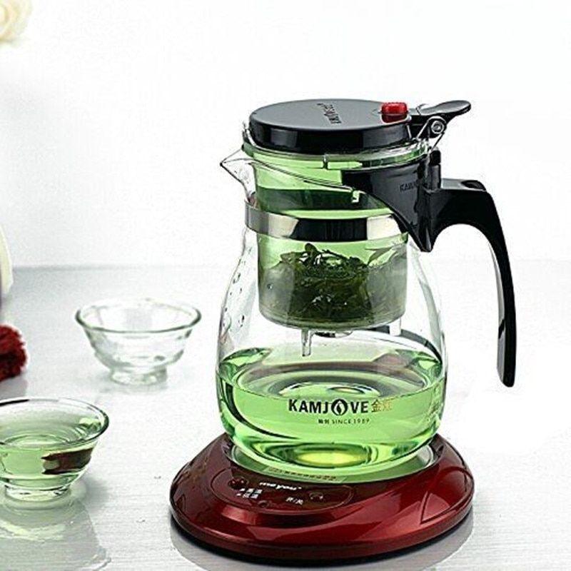 Tea Pot Glass Herbal Infuser Filter Grass Coffee Mug 700ml Teaset Lid Teapot New