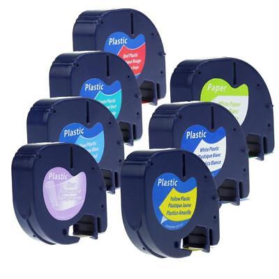 91331 91330 91333 Label Tape P-touch Compatible For Dymo Letratag 6 Color 7pk