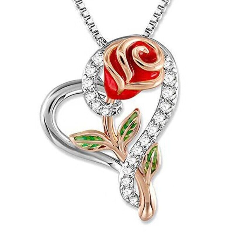 Rose Flower Heart Pendant Necklace Gift for Mom Wife Daughte