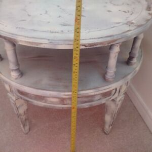 real wood round table two tier 22 inch tall, 24 inch diameter