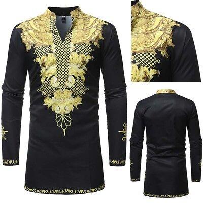 - African Tribal Shirt Men Dashiki Print Succinct Hippie Top Blouse Clothing M-3XL