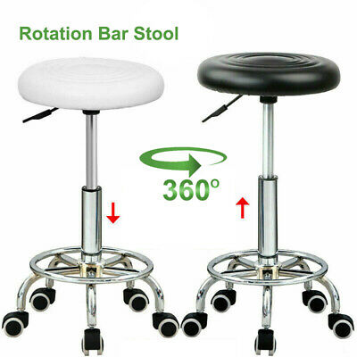 Height Adjustable Swivel Round Stool Rotation Bar Rolling Chair Black/White