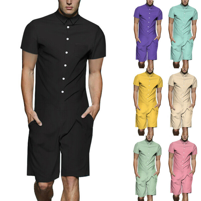 Men Print Overall Short Sleeve Zipper Romper Summer Short Jumpsuit Overall Pants