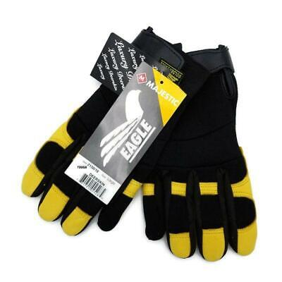 Golden Eagle Deerskin Leather Large Gloves Mechanics Work Stretch Back Riding Golden Eagle Mechanics Gloves