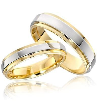 316L Stainless Steel Couple Rings Gold Plating Engagement Jewelry Band Size -