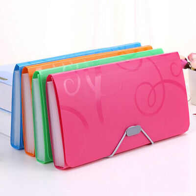 13 Pockets File Folder Plastic Office Document Pouch Organizer Accordion Bag New
