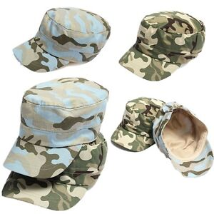 Kids-Military-Army-Cadet-Hat-Flat-Camouflage-Baseball-Peak-Cap-Children-Girl-Boy