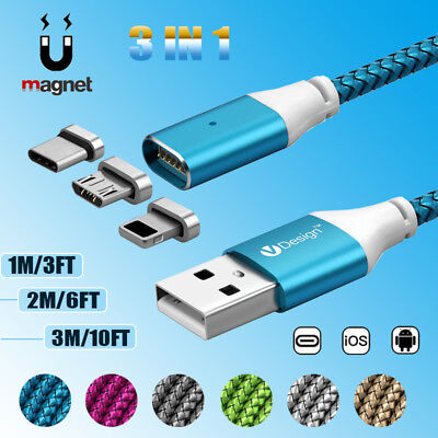 1M-3M 3IN1 Magnetic Cable Charger Type C IOS Micro USB Charging Cord Adapter Lot