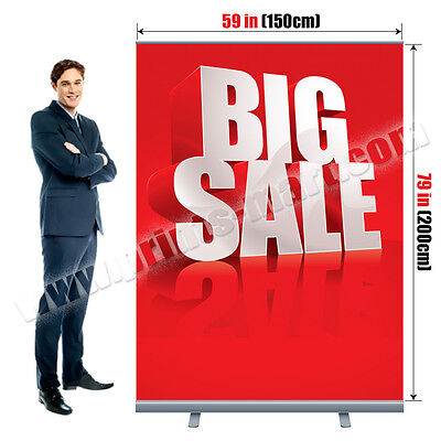 59x79 Retractable Roll Up Banner Stand Trade Show Pop Up Display Free Printing