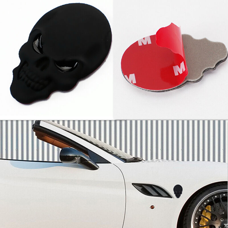 2x Black Car Body Side Rearview Mirror Cover 3D Skull Sticker Metal Emblem Badge