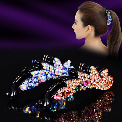 Womens Ponytail Holder - Crystal Banana Hair Ponytail Holder Clip Claw Hairpin Nest Ladies Women 12Colors