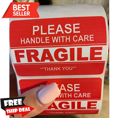2x3in Fragile Stickers Handle Wcare Warning Packing Shipping 1 Roll 500 Labels