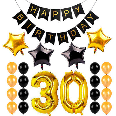 Decorations For 30th Birthday Party (30Th 30Gold Birthday Party Supplies For Him/Her Sash Happy Banner Decor)