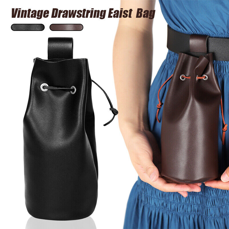 Medieval PU Leather Drawstring Waist Bag Coin Tobacco Wallet Cosplay Retro Props