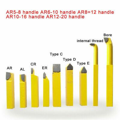 Pro 9 Pcs 8x8mm Carbide Tipped Lathe Metal Cutting Tools Set Turning Boring Kit