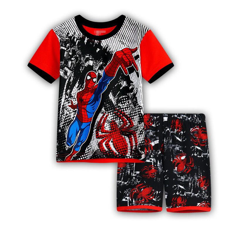 Kids Boys Superhero Clothing Casual T-shirt Shorts Pants 2Pcs Outfit Pajamas Set