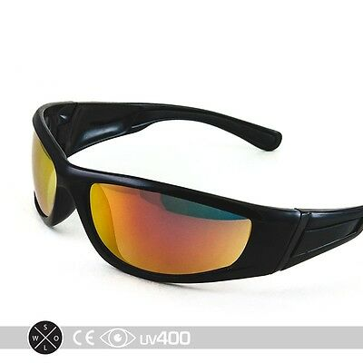 Black Active Sport Sunglasses Golf Running Wrap Around Fire Lens Mirror RV S133